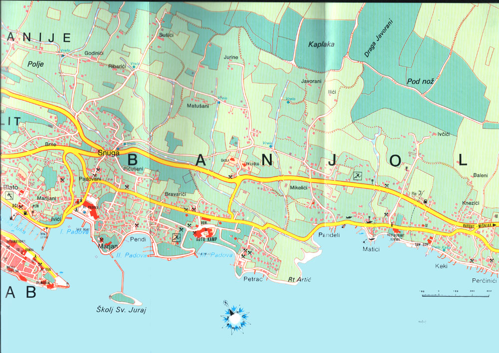 Island Of Rab Map With Banjol